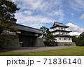 松前城の天守と本丸御門:北海道松前町 71836140