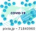 コロナウイルス イメージ フレーム(影なしマスクあり) 71840960