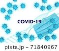 コロナウイルス イメージ フレーム(影なしマスクあり) 71840967