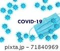 コロナウイルス イメージ フレーム(影なしマスクあり) 71840969