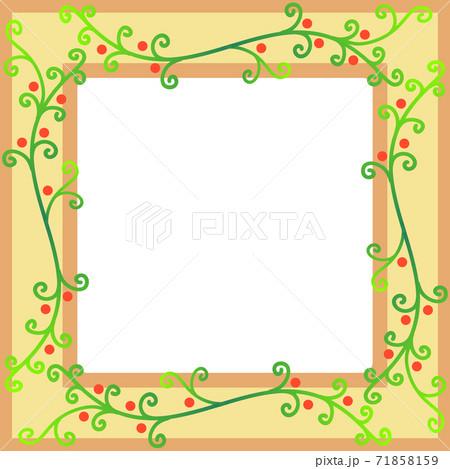 秋イメージのつる植物模様のフレーム 71858159