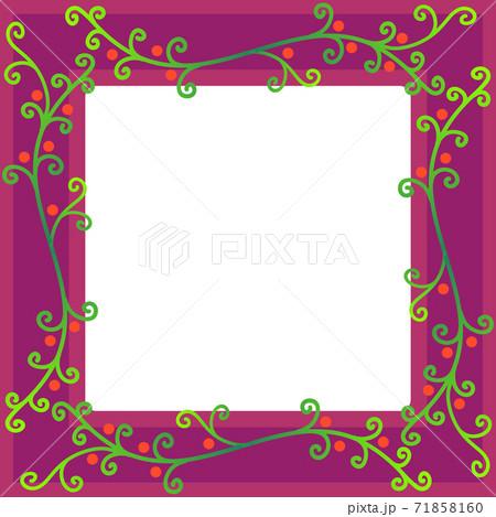 秋冬イメージのつる植物模様のフレーム 71858160