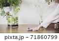 おしゃれなダイニングテーブルと掃除する写真素材 71860799