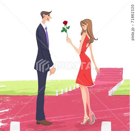 恋人にバラを一輪渡す女性のイラスト 71862320