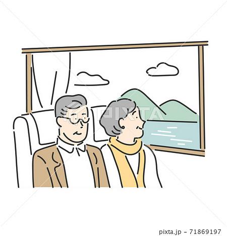 旅の道中で窓から見える景色を眺めるシニア夫婦のイラスト素材 71869197