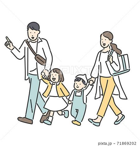 仲良く手を繋いで歩く家族のイラスト素材 71869202