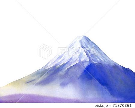 朝霧に包まれたの富士山のイメージ。水彩イラスト。白背景 71870861