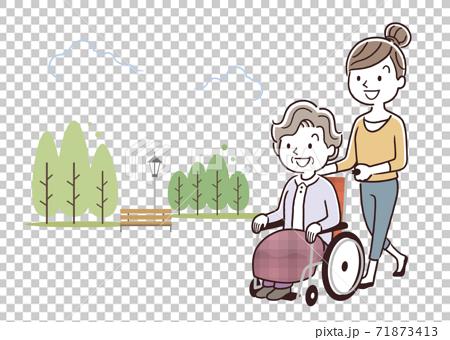 矢量圖材料:年輕女子推著輪椅上的高級女子走 71873413