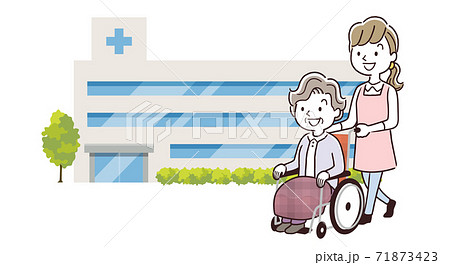 ベクターイラスト素材:病院に通院するシニア女性とスタッフの女性 71873423