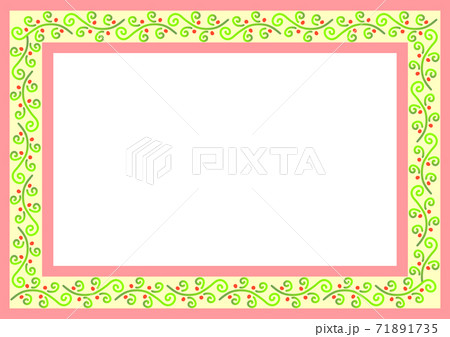 春イメージのつる植物模様のフレーム 71891735