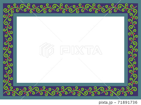 秋冬イメージのつる植物模様のフレーム 71891736