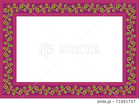 秋冬イメージのつる植物模様のフレーム 71891737