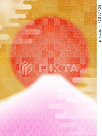 朝焼けの富士山と初日の出のかわいい年賀背景イラスト縦 71897708
