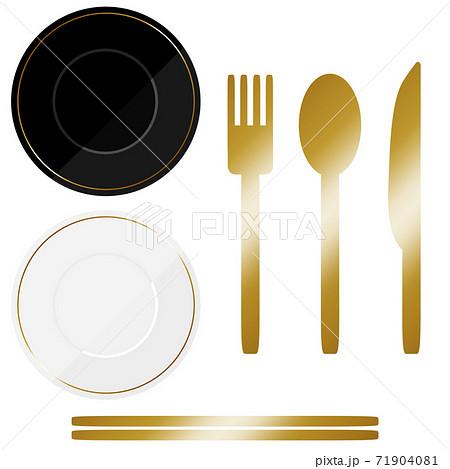 豆皿とカトラリーの素材セット ゴールド 71904081