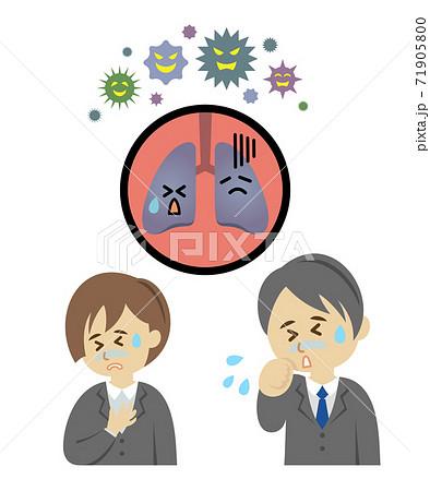 ウィルスによって肺の調子が悪いサラリーマンのイラストイメージ 71905800