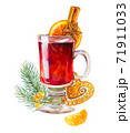 Glass of mulled wine with spices, cookie, fir tree branch isolated on white background 71911033