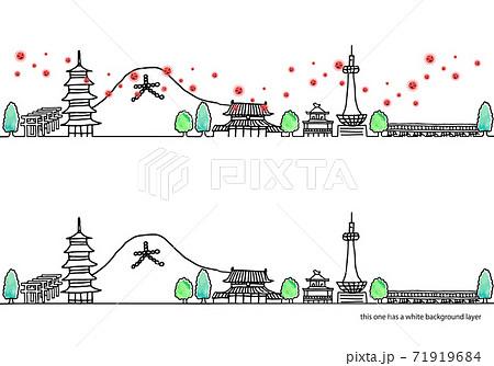 シンプル手書きの京都の街並みと新型コロナウイルスの線画セット 71919684