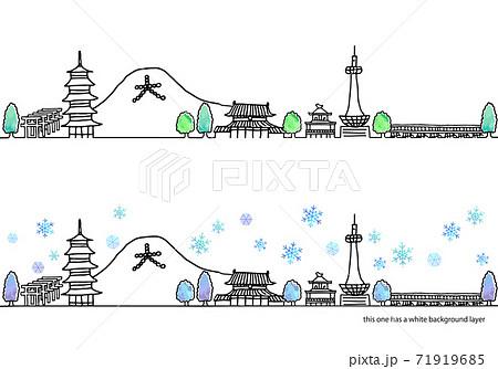 シンプル手書きの冬の京都の街並み線画セット 71919685