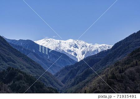大鹿村から見える残雪の南アルプス赤石岳 71935491