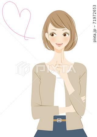 ハートマークと笑顔の女性のイラスト 結婚 71972653