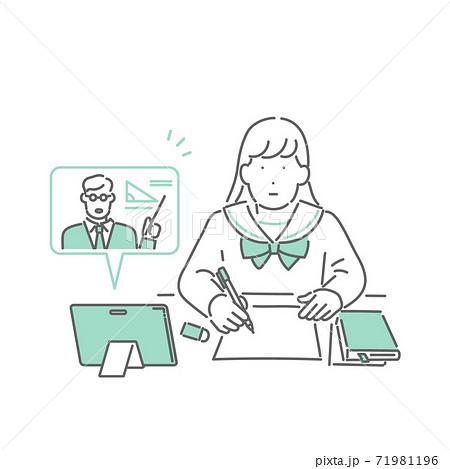 タブレットでオンライン授業を受ける学生のイラスト 71981196