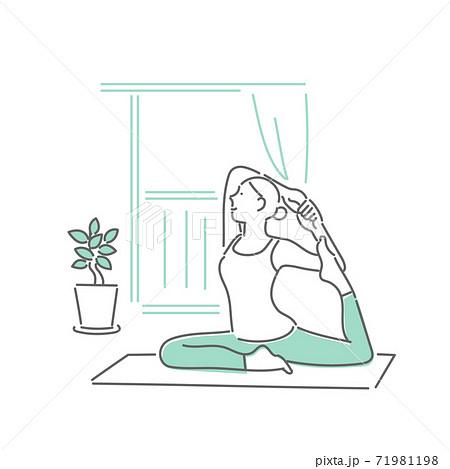 自宅でストレッチをする女性のイラスト 71981198