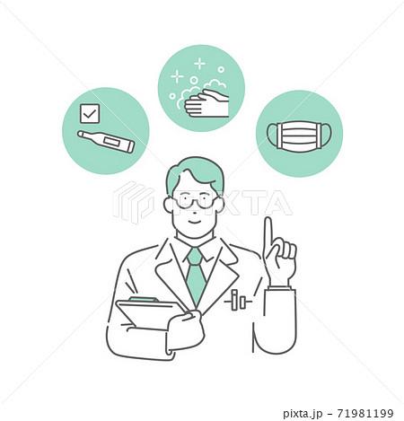 コロナウイルス感染症の対策・予防を説明する医師 71981199