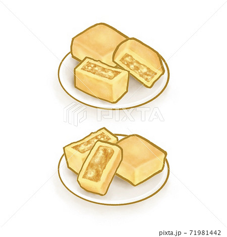 The digital painting of Taiwanese pineapple cake pastry bakery isometric icon raster illustration on white background. 71981442
