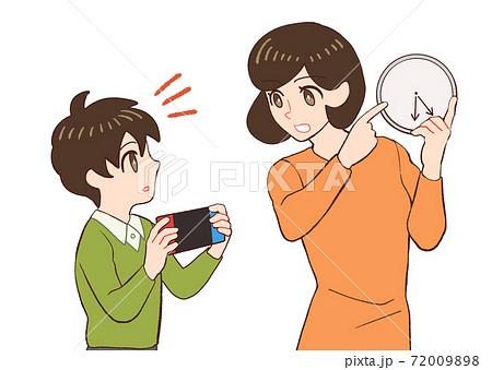 子供のゲームの時間を指定するお母さんのイラスト 72009898