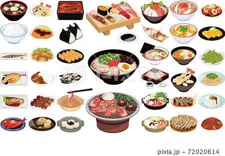 外国人に人気の日本食イラスト①(お寿司、らーめん、焼肉、天ぷら、焼鳥) 72020614