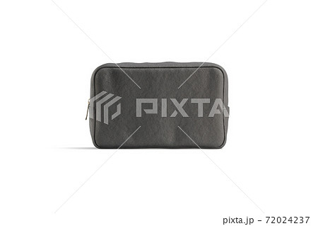 Blank black canvas cosmetic bag mockup, front view 72024237