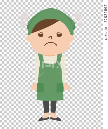 戴著圍裙的女人。一名惱怒的婦女的例證。 72025697