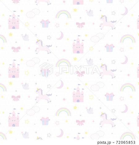 お城とユニコーンのファンシーパターン 背景壁紙 72065853