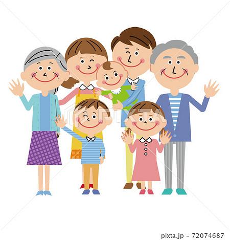 ポップな3世代家族 赤ちゃんと一緒にハーイ 72074687