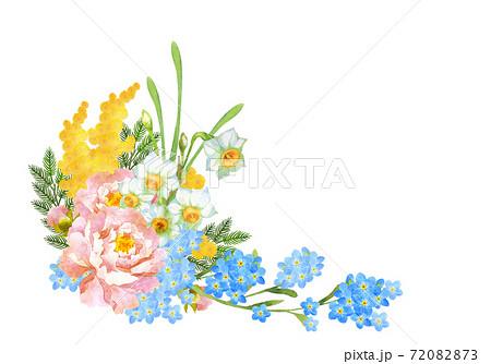 水彩の春の花のブーケ 72082873