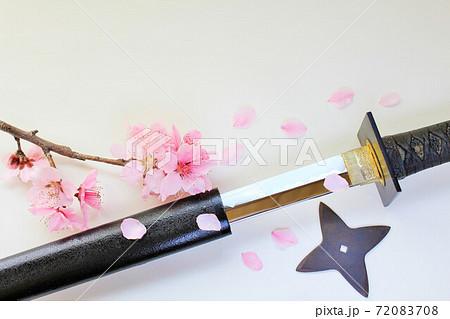 忍者刀と手裏剣 そして桜吹雪 72083708