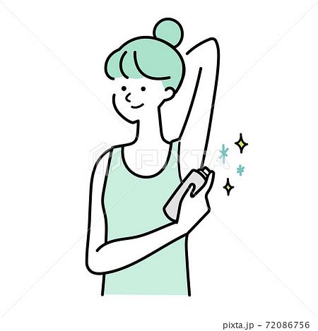 制汗剤をつける女性イラスト 72086756