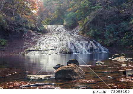 【紅葉の粟又の滝をスローシャッターで撮る】 72093109