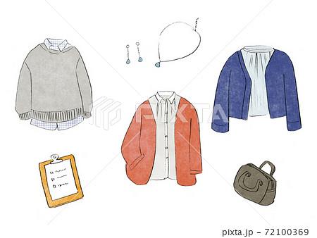 ファッション イラストセット 冬服 レディース 72100369