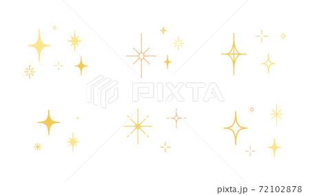 星やキラキラのアイコンのセット/イラスト/光/輝き/素材/シンプル 72102878