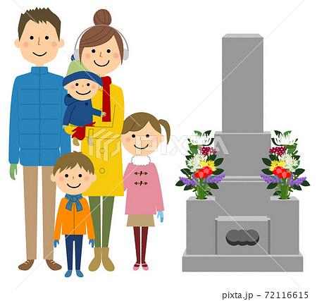 お墓参りする二世代家族 72116615