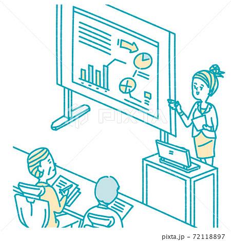 プレゼンテーションをするビジネスパーソン 女性 72118897