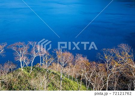 秋の摩周湖 枯れ枝と水面の波の模様(北海道・弟子屈町) 72121762
