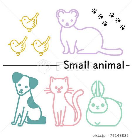 小鳥とフェレットと犬と猫とウサギのシンプルなイラスト 72148885