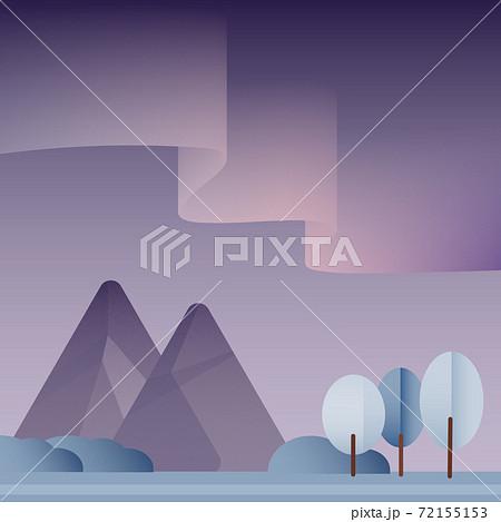 オーロラの見える山脈 72155153