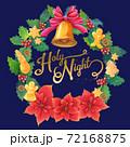 手書き水彩 HolyNightレタリング入りポインセチアとジンジャークッキーのクリスマスリース 72168875