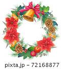 手書き水彩 クリスマスリース 72168877