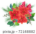 手書き水彩 ポインセチアのクリスマスリース 72168882