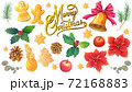 手書き水彩 クリスマスイメージセット 72168883