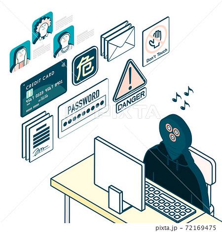 パソコンに向かう犯罪者_情報窃盗 72169475